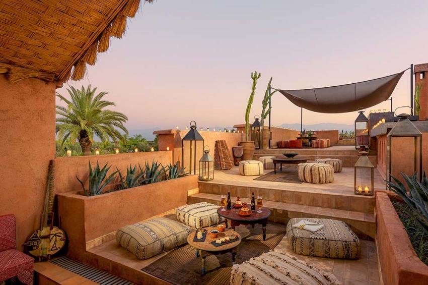 terrasse ouverte au coeur de marrakech