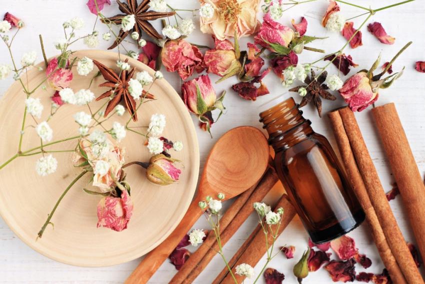 fleurs blanches et roses sechees avec batonnets de cannelle et fiole dhuile essentielle
