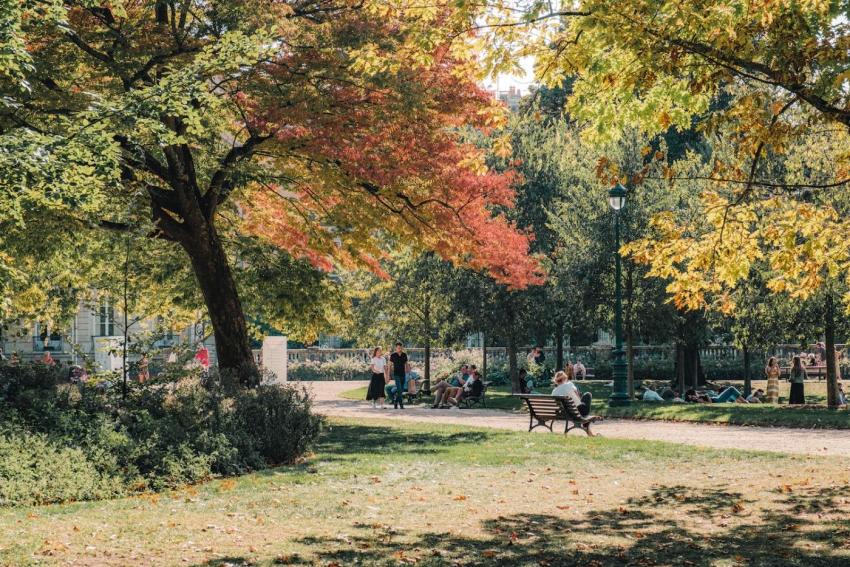 jardin dun parc avec femme assise sur un banc et autres personnes assisent par terre