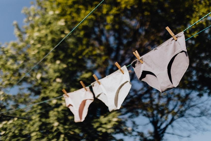 trois culottes entendues sur un fil dans le jardin